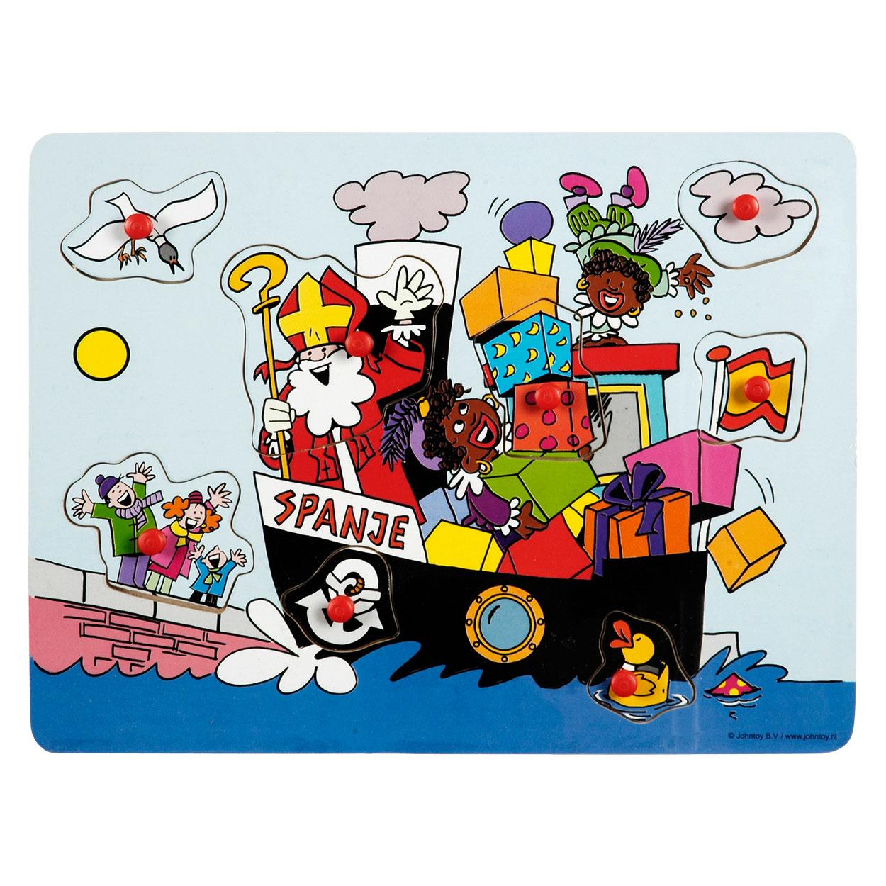Houten Puzzel Sinterklaas Stoomboot De Speelmuis